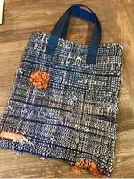 handwoven saori denium rags bag