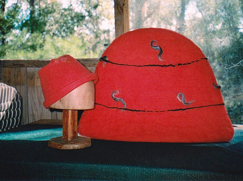 hats before and after wet felting