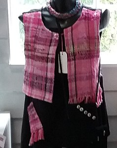 Pink Woven Top with small Shoulder Bags