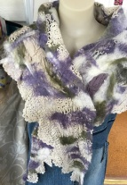 cotton lace felted shawl1